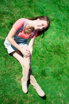 Free Happy Young Brunette On The Green Grass Stock Photo - 16626340