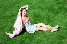 Free Happy Young Brunette With A Handkerchief Resting Royalty Free Stock Images - 16626389