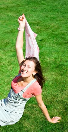 Free Happy Young Brunette With A Handkerchief Resting Stock Photos - 16626453