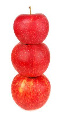 Free Three Red Apples Pyramidal. Royalty Free Stock Photo - 16626815