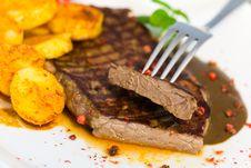 Free Tasty Steak With Deep Fried Potato Stock Image - 16628471