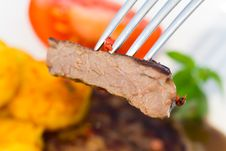 Free Tasty Steak With Deep Fried Potato Royalty Free Stock Photo - 16628485