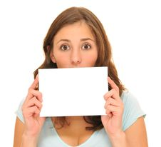 Free Beautiful Young Woman And Blank Card Royalty Free Stock Photo - 16628895