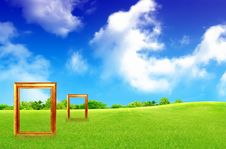 Free Frame Against Blue Sky And Green Grass Stock Image - 16629361