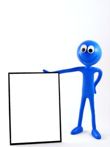 Free Blue Man Figure Holding Advertising Board 1 Royalty Free Stock Image - 16629506