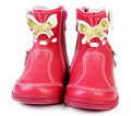 Free Pair Red Leather Baby Boots Stock Photography - 16630142