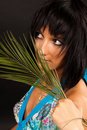 Free Girl With Palm Leaves Royalty Free Stock Images - 16631569