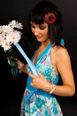 Free Beautiful Girl In The Blue Dress With Flowers Stock Images - 16631624
