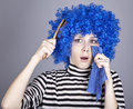 Free Portrait Of Sad Girl With Blue Hair And Comb. Stock Images - 16639494