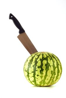 Free Watermelon With The Knife Royalty Free Stock Images - 16630259