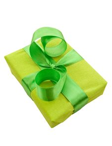 Free Green Gift Box With Green Satin Ribbon Stock Image - 16631201