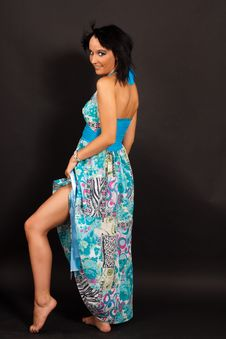 Free Beautiful Girl In The Blue Dress Stock Photography - 16631512