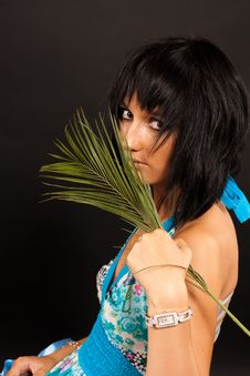 Free Girl With Palm Leaves Stock Images - 16631564