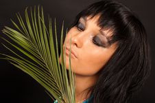 Free Girl With Palm Leaves Stock Images - 16631584