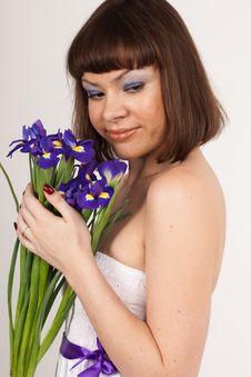 Free Beautiful Girl With Irises Royalty Free Stock Photo - 16631695