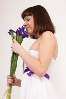 Free Beautiful Girl With Irises Royalty Free Stock Photos - 16631718