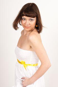 Free Beautiful Girl In White Dress With Yellow Ri Stock Photos - 16631753