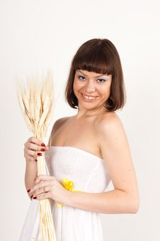 Free Girl With Ears Of Wheat Royalty Free Stock Photo - 16631795