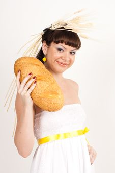 Free Girl With Bread And Ears Of Wheat Royalty Free Stock Image - 16631806