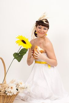 Free Girl With Bread, Sunflower And Ears Of Wheat Stock Photo - 16631830