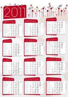 Free Red 2011 Poster Calendar Royalty Free Stock Images - 16631839