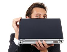 Businessman Look Out From Laptop Stock Images