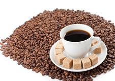 Free Coffee Cup On Beans Pile Isolated Stock Photo - 16633210