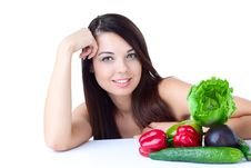 Free Young Girl With  Vegetables Stock Image - 16633281