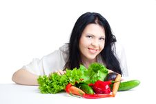 Free Beautiful Woman  With Vegetables Stock Photography - 16633282