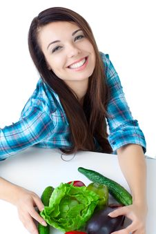Free Young Girl With  Vegetables Royalty Free Stock Photo - 16633285