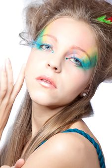 Free Beautiful Woman  With Color Makeup Royalty Free Stock Photo - 16633295