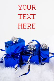 Free Blue Boxes And Christmas Blue Balls Stock Photo - 16633500