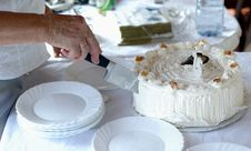 Cutting Birthday Cake Stock Images