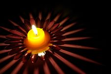Candle On A Glass Candlestick Stock Photography