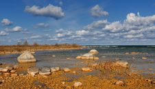 Rocky Shoreline Of Lake Michigan Royalty Free Stock Photo