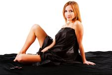 Free Beautiful Alluring Young Girl On Black Bed Stock Photos - 16635723