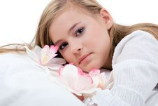 Free Portrait Of A Girl With Orchids. Stock Photography - 16636742