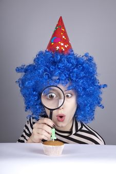 Funny Girl With Blue Hair And Striped Jacket