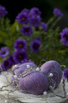 Easter Still Life With White Pearls Royalty Free Stock Image