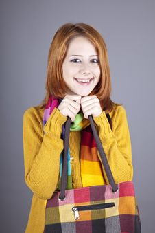 Free Portrait Of Red-haired Girl In Scarf. Royalty Free Stock Image - 16638376
