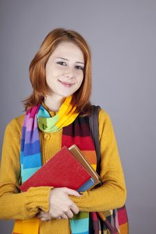 Young Student Girl With Books. Stock Photography