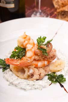 Delicatessen Dish With Seafoods Royalty Free Stock Photography