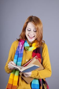 Young Student Girl With Books. Royalty Free Stock Photos