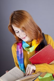 Young Student Girl With Books. Stock Images