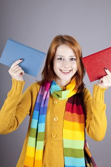 Student Girl With Two Books.