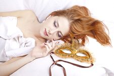 Free Sleeping Woman Near Carnival Mask. Stock Images - 16638714