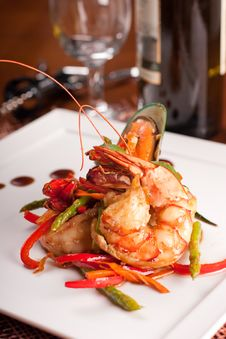 Free Delicatessen Dish With Seafoodsshrimp, Prawn, Muss Stock Photography - 16638772