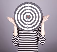 Red-haired Girl With Dartboard. Stock Photos