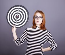 Free Red-haired Girl With Dartboard. Royalty Free Stock Photography - 16638777