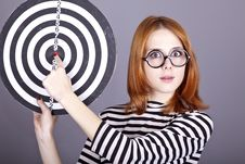 Free Red-haired Girl With Dartboard. Stock Photography - 16638802